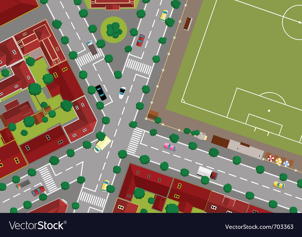 Football field in town vector | Price: 3 Credit (USD $3)