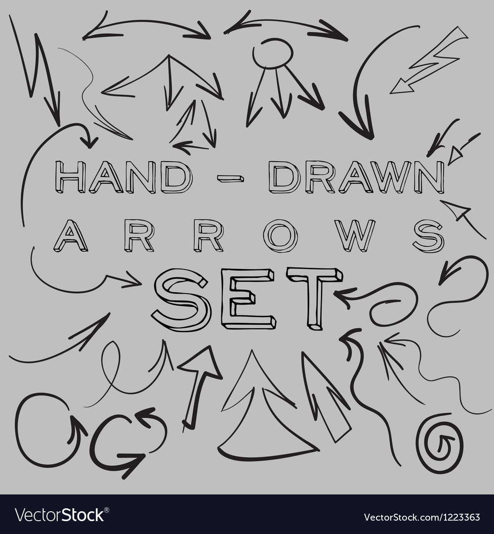 Handdrawn arrows set vector