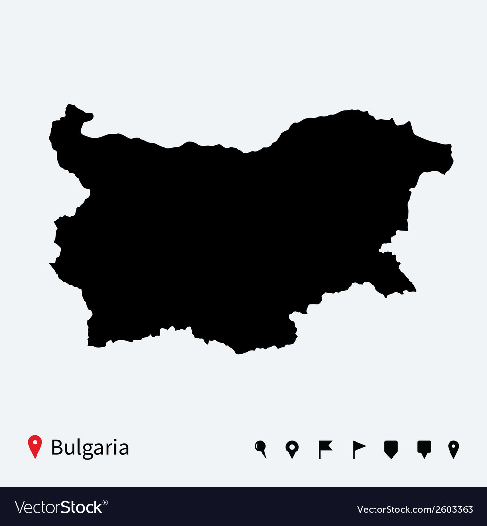High detailed map of bulgaria with navigation pins vector | Price: 1 Credit (USD $1)