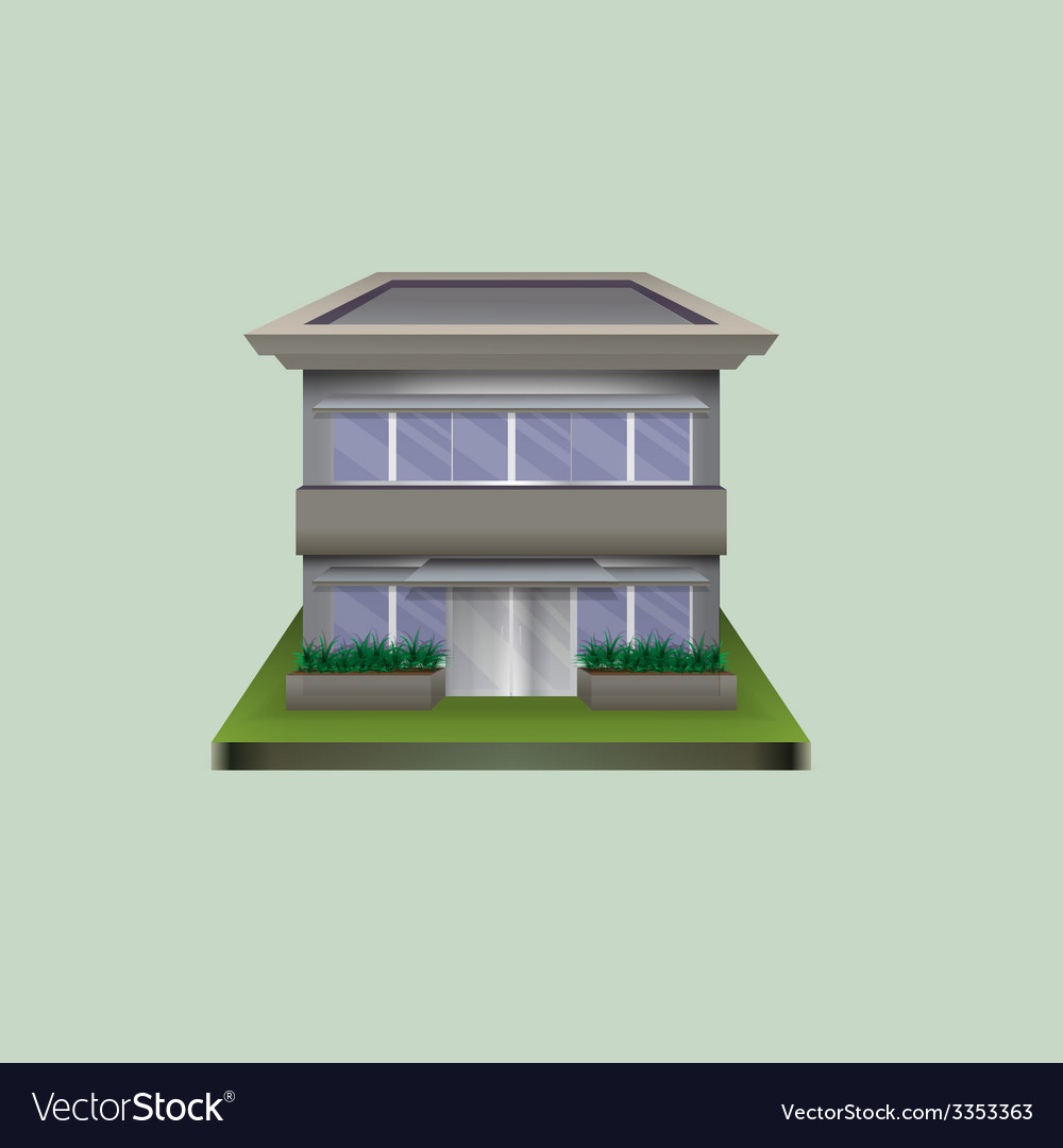 Lonely standing building of glass and concrete vector | Price: 1 Credit (USD $1)
