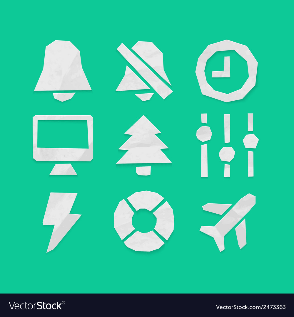 Paper cut icons applications set 6 vector | Price: 1 Credit (USD $1)
