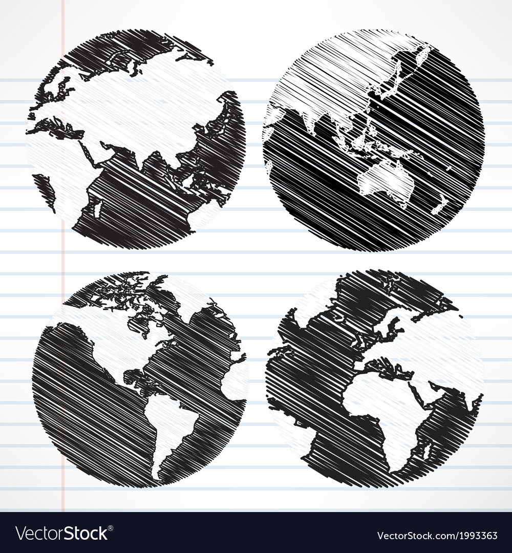 Planet earth hand writing world map vector | Price: 1 Credit (USD $1)