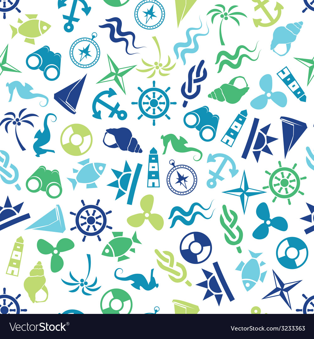 Seamless marine pattern vector | Price: 1 Credit (USD $1)