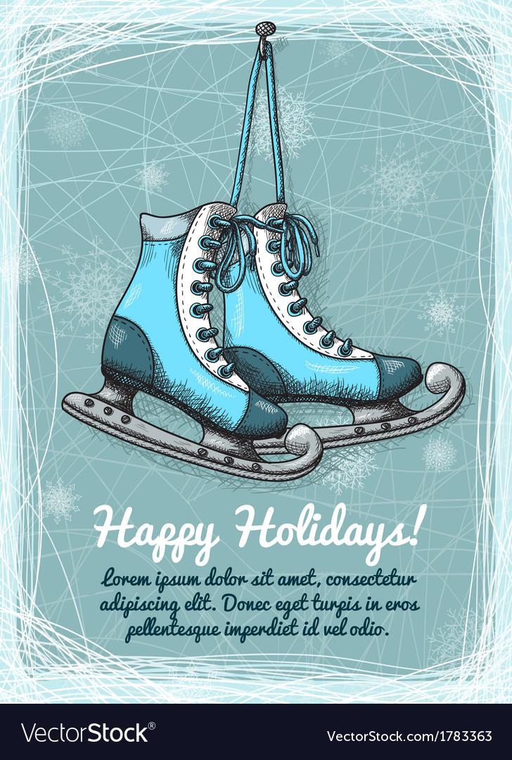 Skate holidays winter invitation vector | Price: 1 Credit (USD $1)