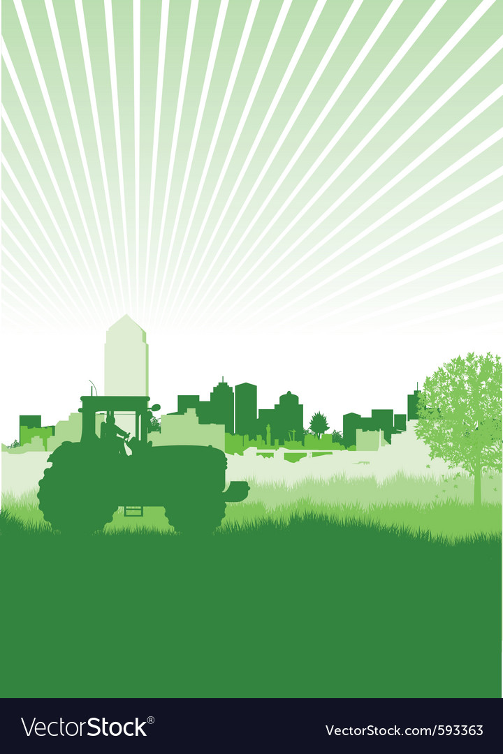 Tractor in a field vector | Price: 1 Credit (USD $1)