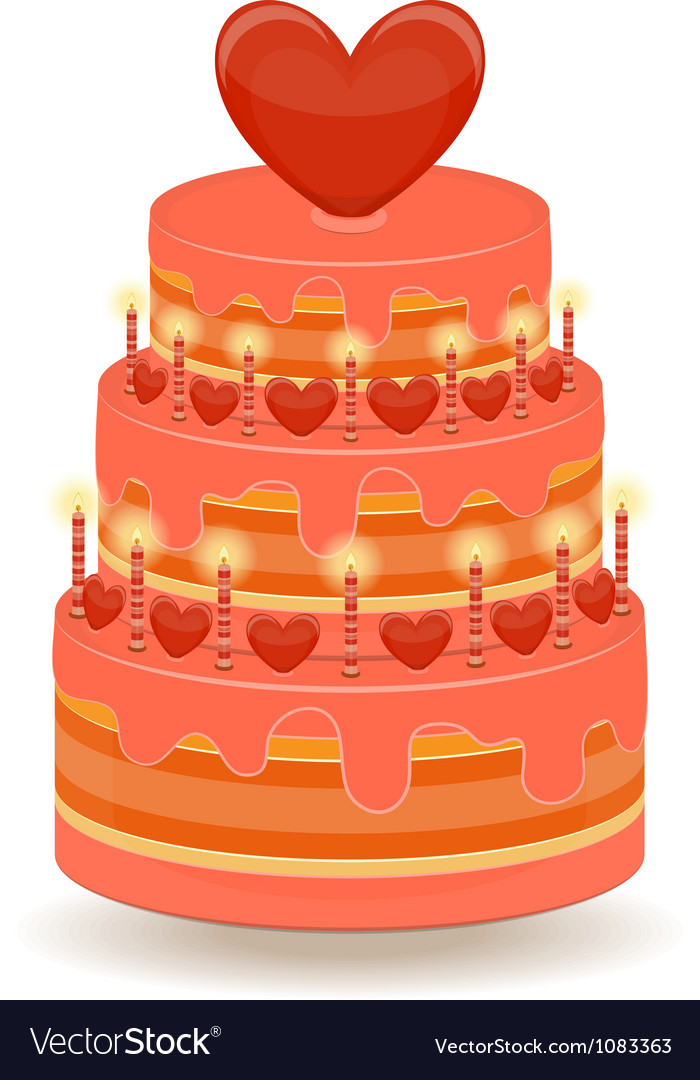 Valentines cake on white background vector | Price: 1 Credit (USD $1)
