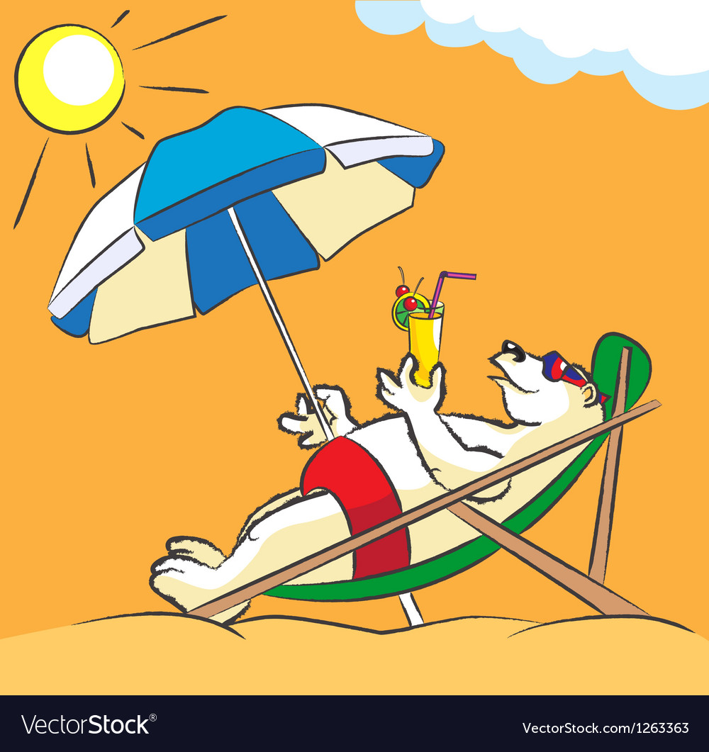 White bear on a beach vector | Price: 3 Credit (USD $3)