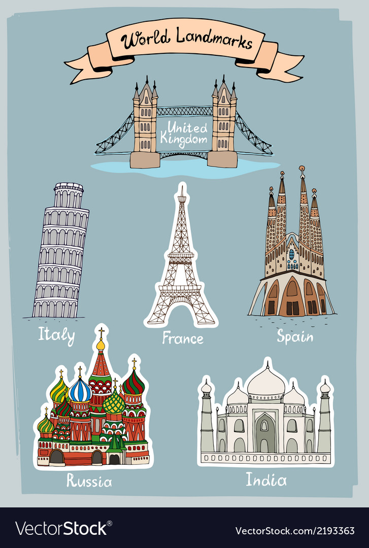 World landmarks hand-drawn icons set vector | Price: 1 Credit (USD $1)