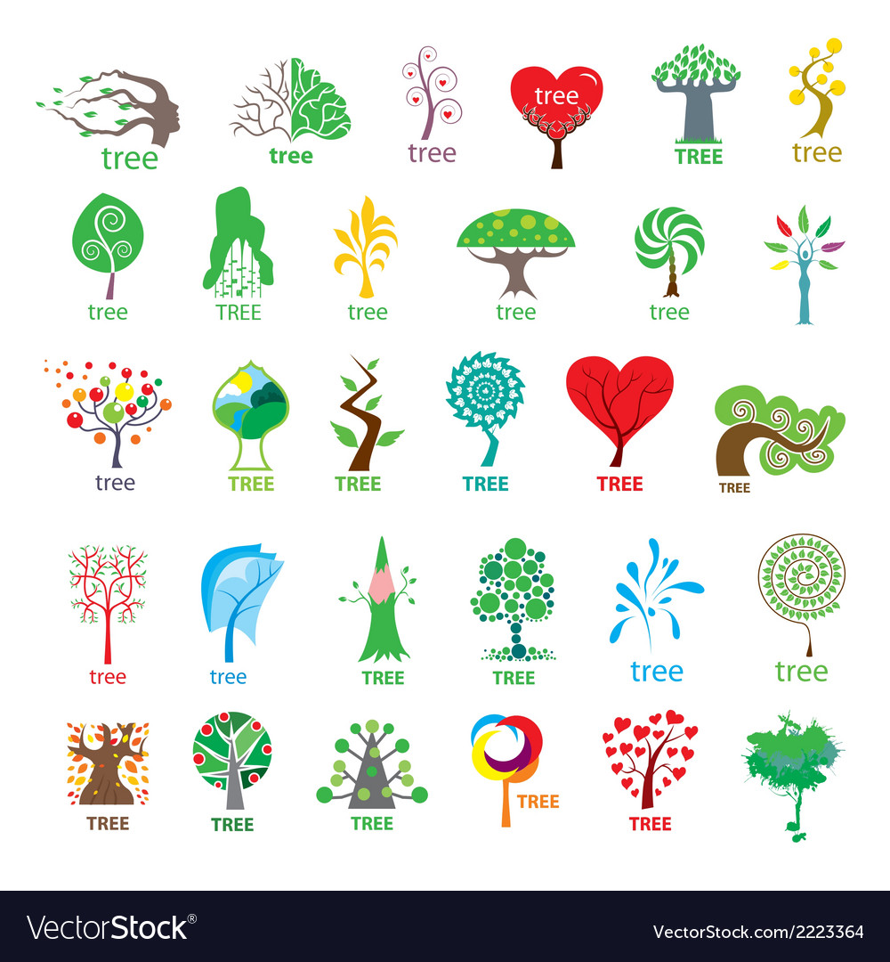Biggest collection of logos stylized tree vector | Price: 1 Credit (USD $1)