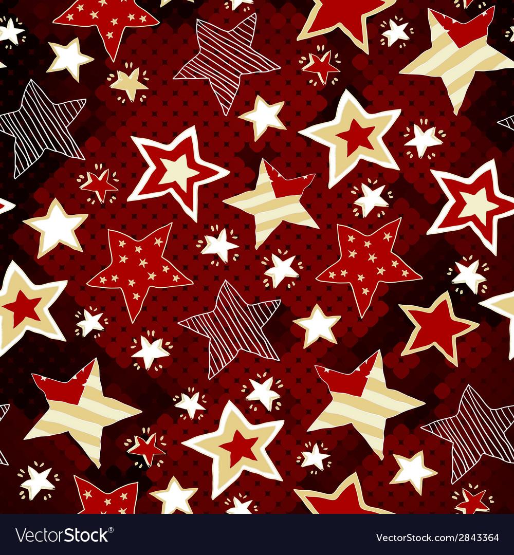 Briht stars on red mosaic background vector | Price: 1 Credit (USD $1)