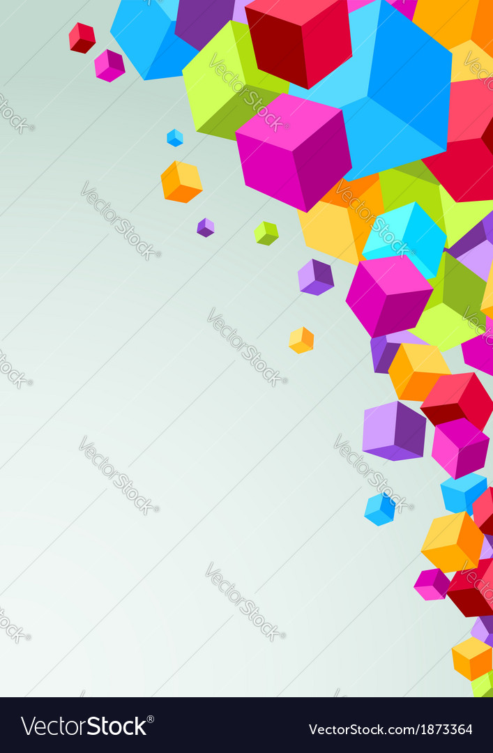 Colorful cubes flying - geometrical background vector | Price: 1 Credit (USD $1)