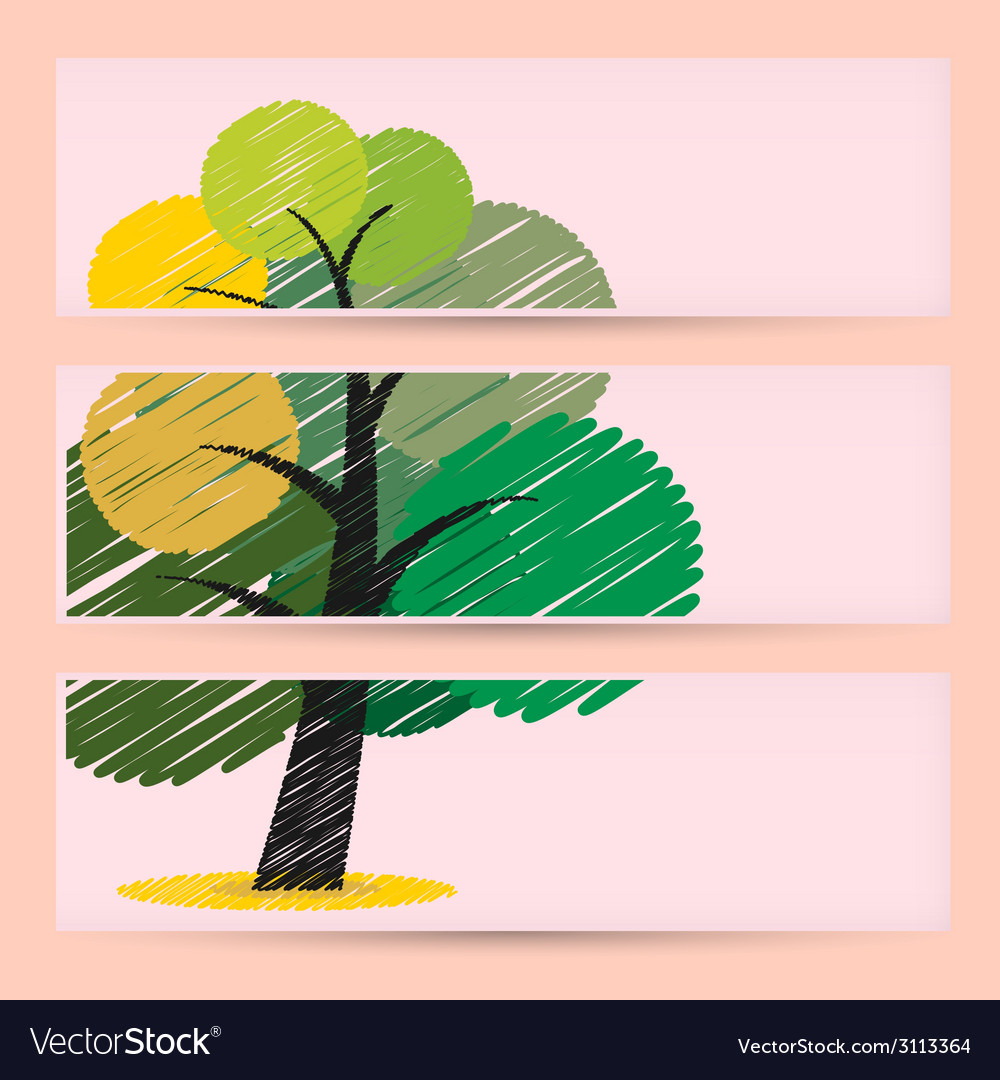 Creative scribble tree banners concept vector | Price: 1 Credit (USD $1)