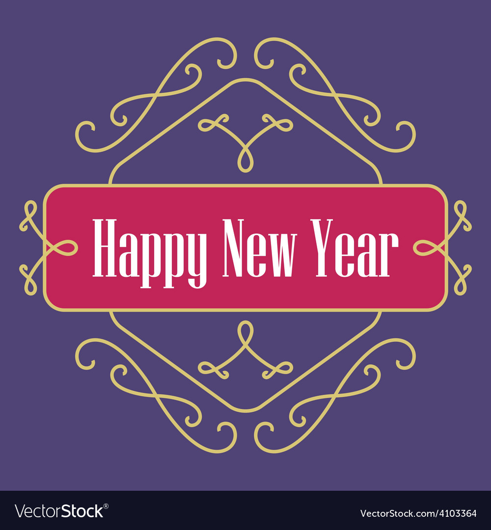 Happy new year monograms festive card lineart vector | Price: 1 Credit (USD $1)