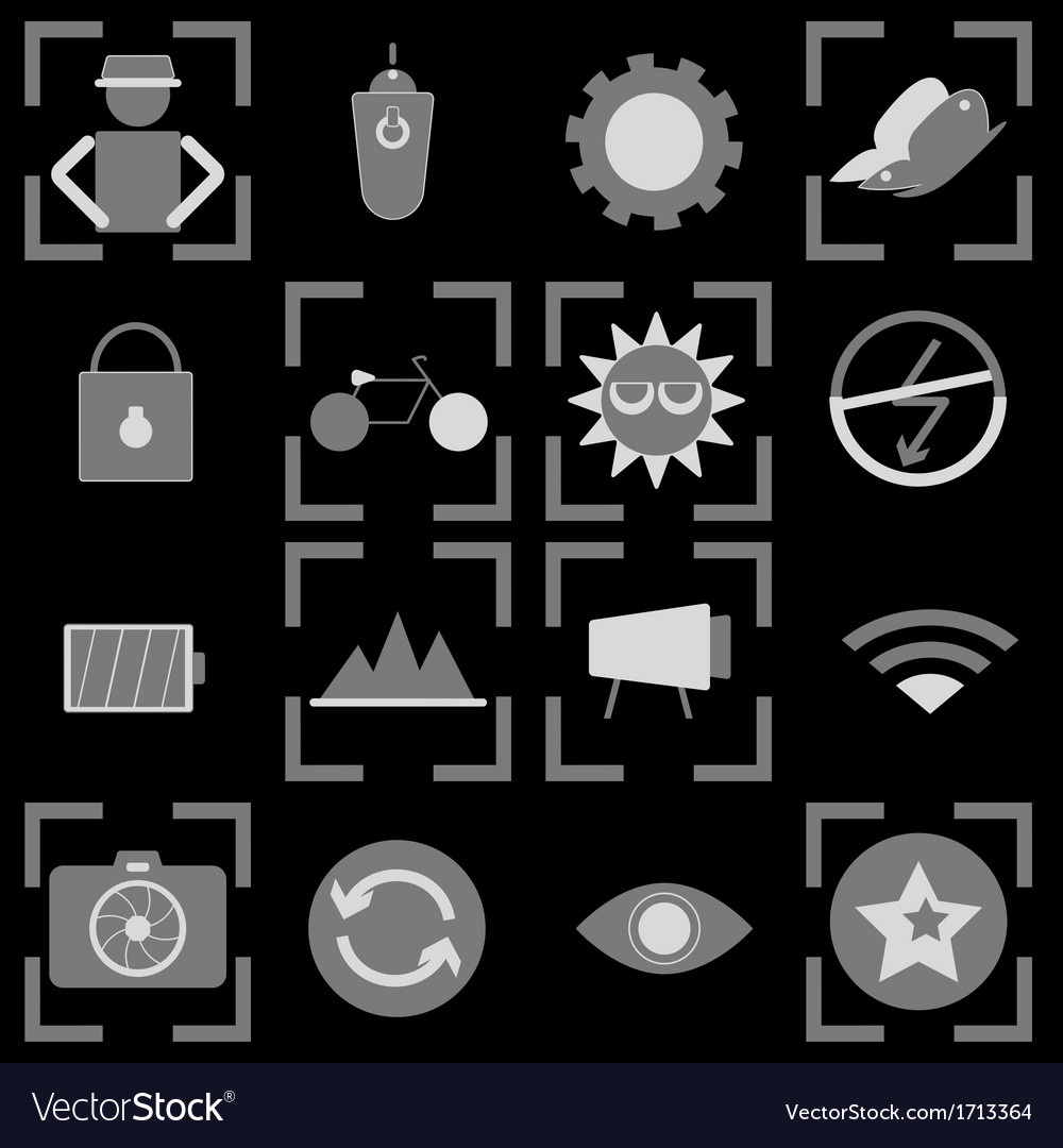 Photography icons on black background vector | Price: 1 Credit (USD $1)