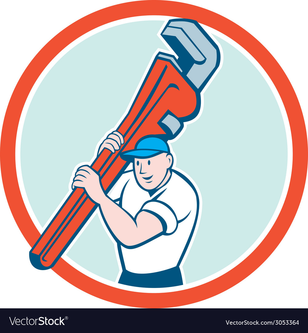 Plumber carrying monkey wrench circle cartoon vector | Price: 1 Credit (USD $1)