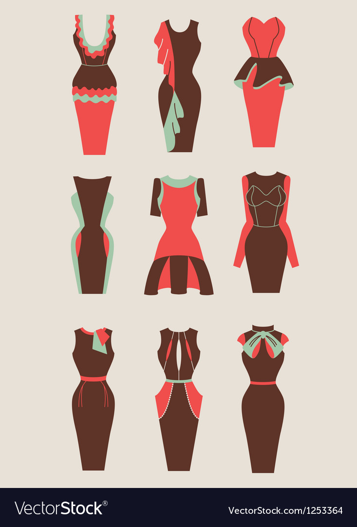 Retro and modern woman dresses vector | Price: 1 Credit (USD $1)