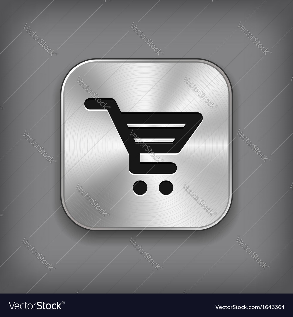 Shop cart icon - metal app button vector   Price: 1 Credit (USD $1)