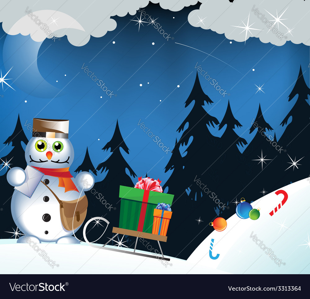 Snowman postman vector | Price: 3 Credit (USD $3)