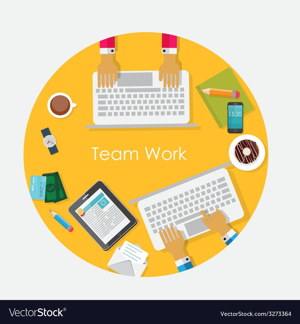 Team work flat concept vector | Price: 1 Credit (USD $1)