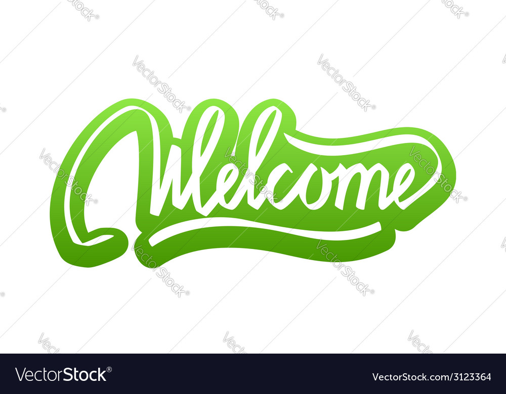 Welcome hand lettering calligraphy sticker vector | Price: 1 Credit (USD $1)