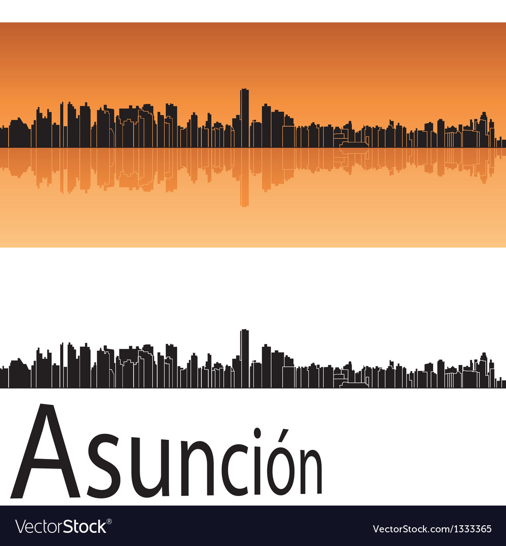 Asuncion skyline in orange background vector | Price: 1 Credit (USD $1)