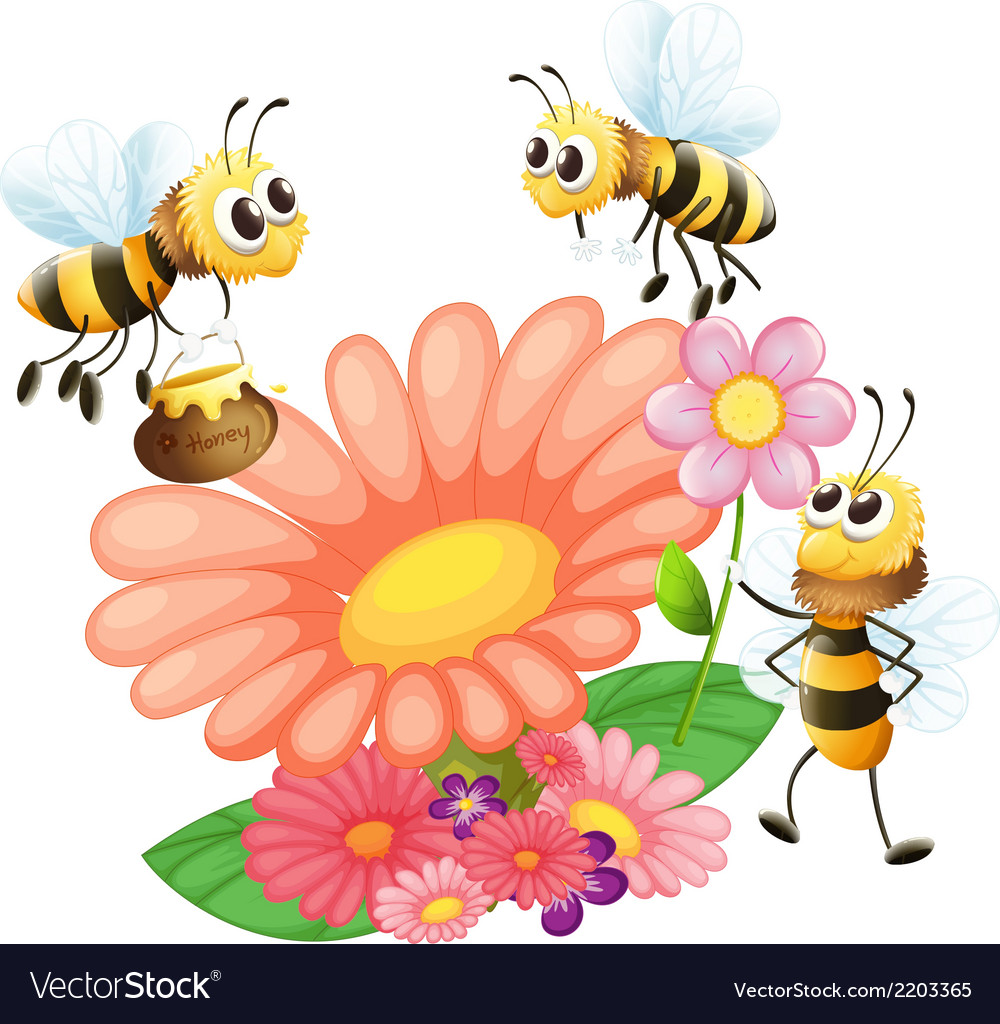 Blooming flowers with bees vector   Price: 1 Credit (USD $1)