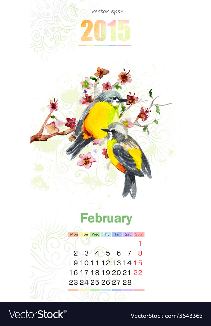 Calendar for 2015 february vector | Price: 1 Credit (USD $1)
