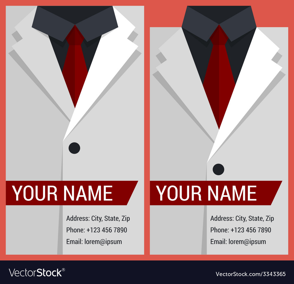 Flat business card template with white jacket vector | Price: 1 Credit (USD $1)