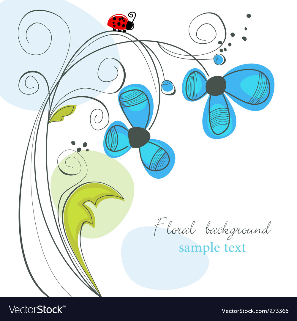 Floral and ladybug background vector | Price: 1 Credit (USD $1)