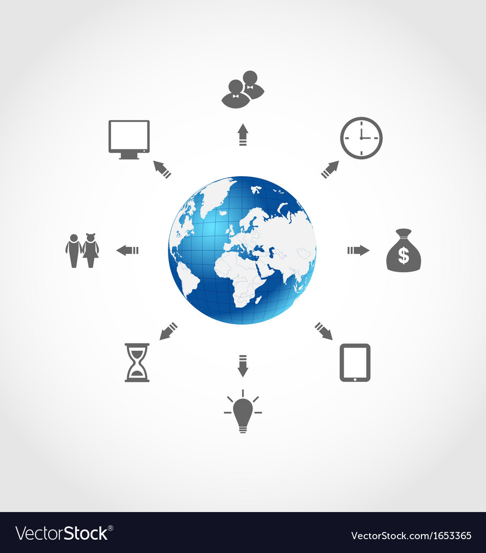 Global internet communication set business vector | Price: 1 Credit (USD $1)