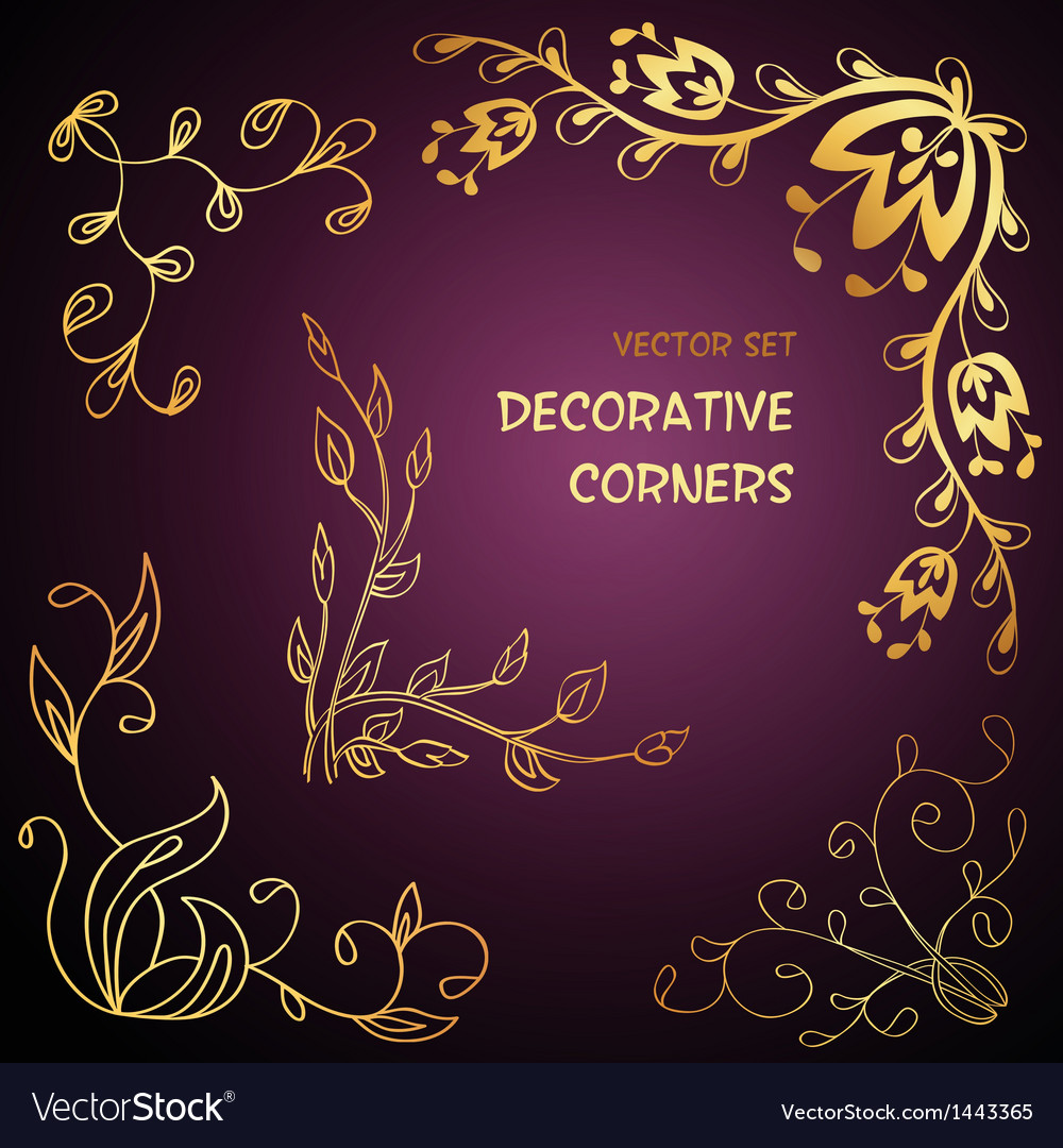 Golden floral decorative corners vector | Price: 1 Credit (USD $1)