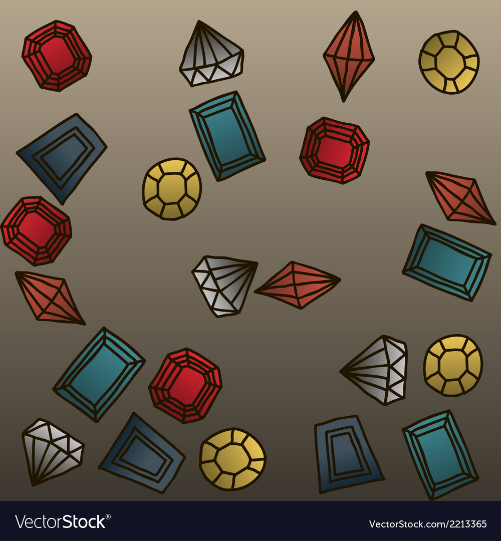 Hand drawn gems background vector | Price: 1 Credit (USD $1)