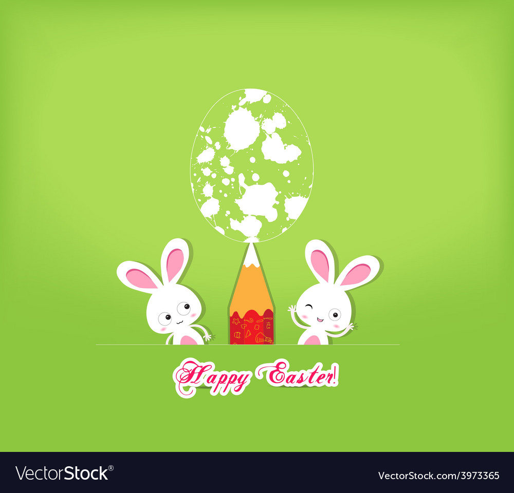 Happy easter egg and bunny funny greeting card vector