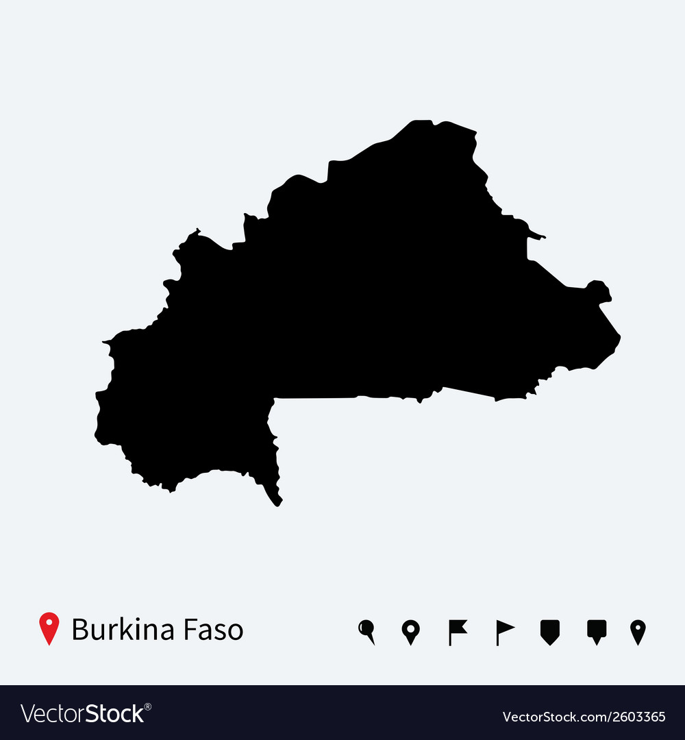 High detailed map of burkina faso with navigation vector | Price: 1 Credit (USD $1)