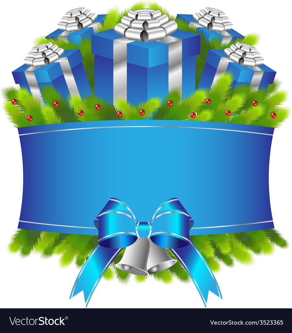 Merry christmas and happy new year blue gifts vector | Price: 3 Credit (USD $3)