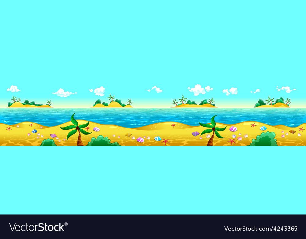 Seashore and ocean vector | Price: 1 Credit (USD $1)