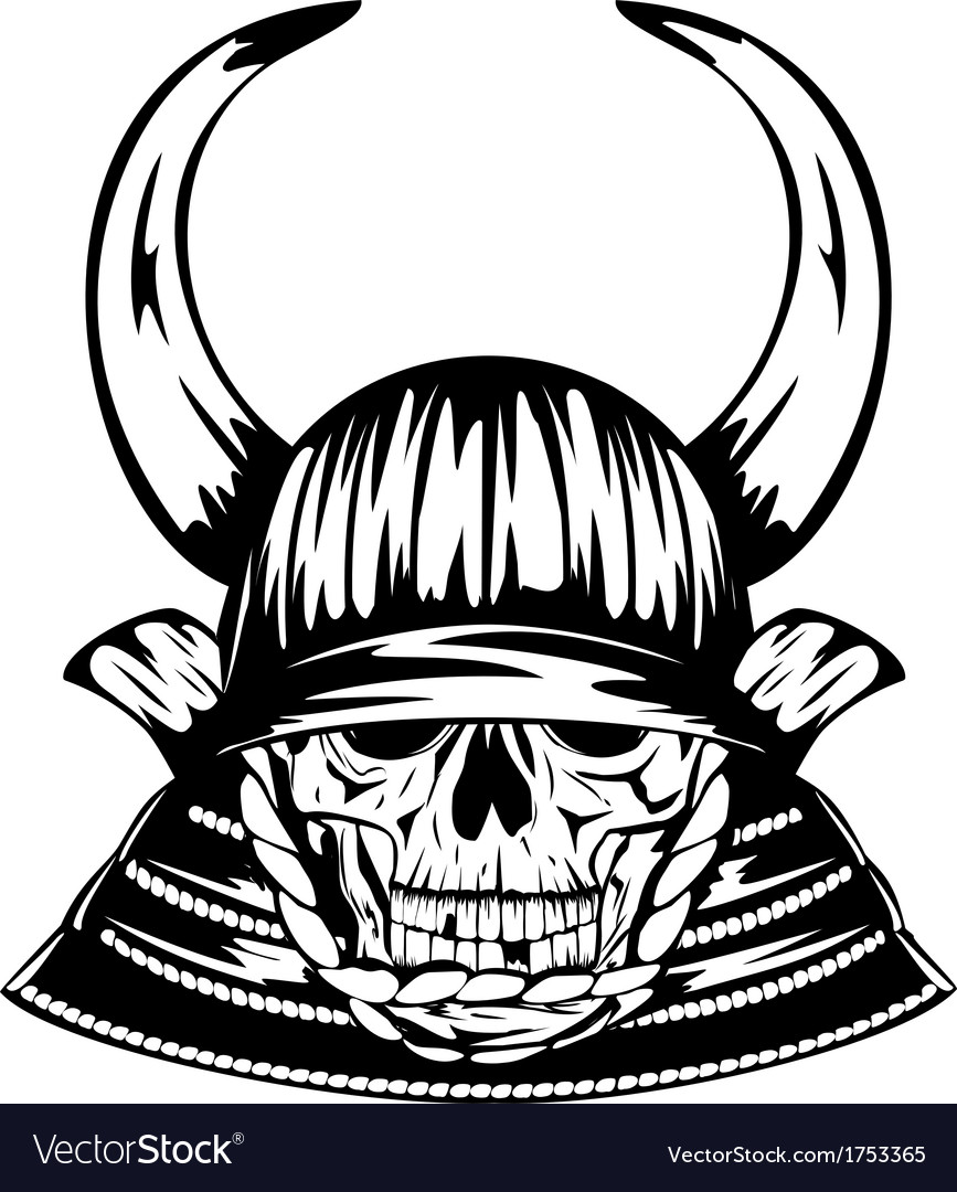 Skull in samurai helmet with horns vector | Price: 1 Credit (USD $1)