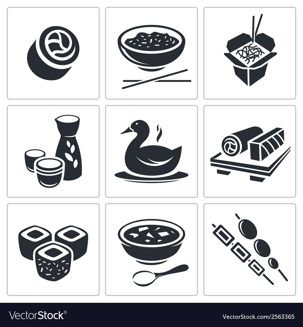 Sushi icons set vector | Price: 1 Credit (USD $1)