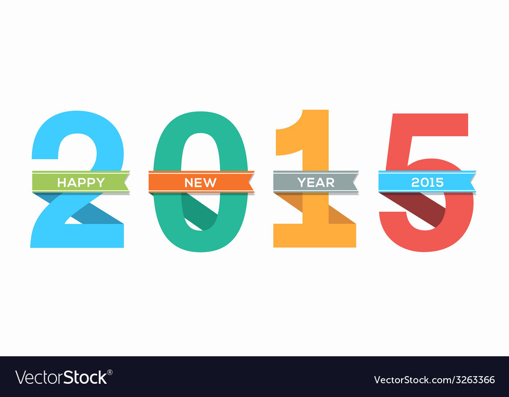 2015 happy new year number with ribbon vector | Price: 1 Credit (USD $1)