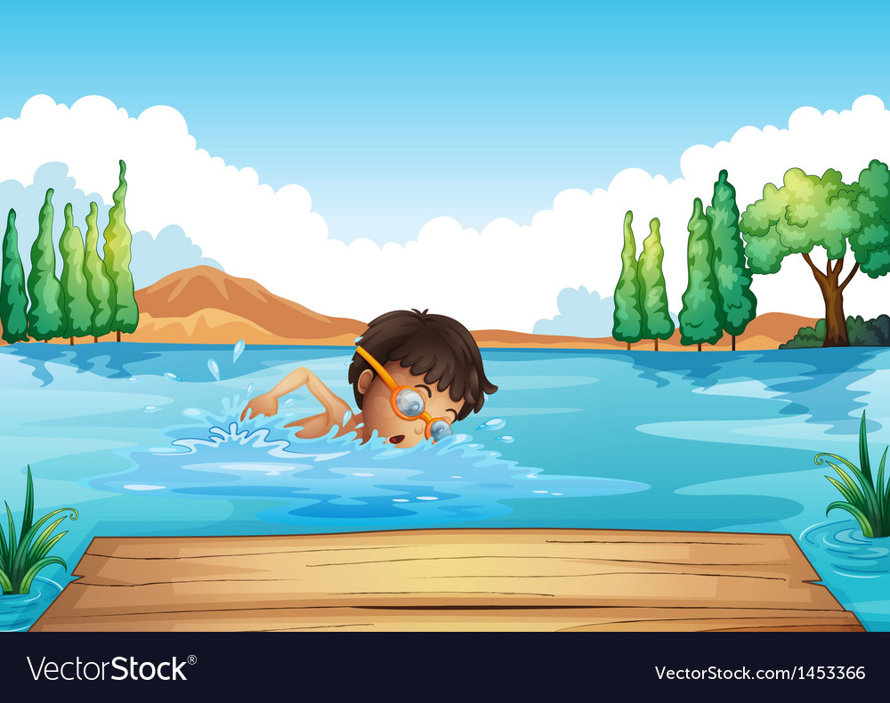 A young man swimming in the river vector   Price: 1 Credit (USD $1)