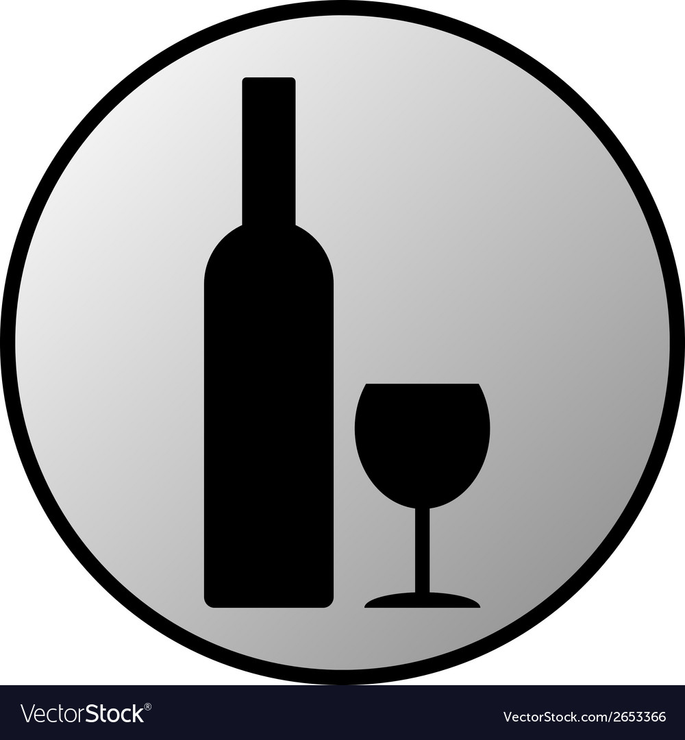 Bottle and glasse button vector | Price: 1 Credit (USD $1)
