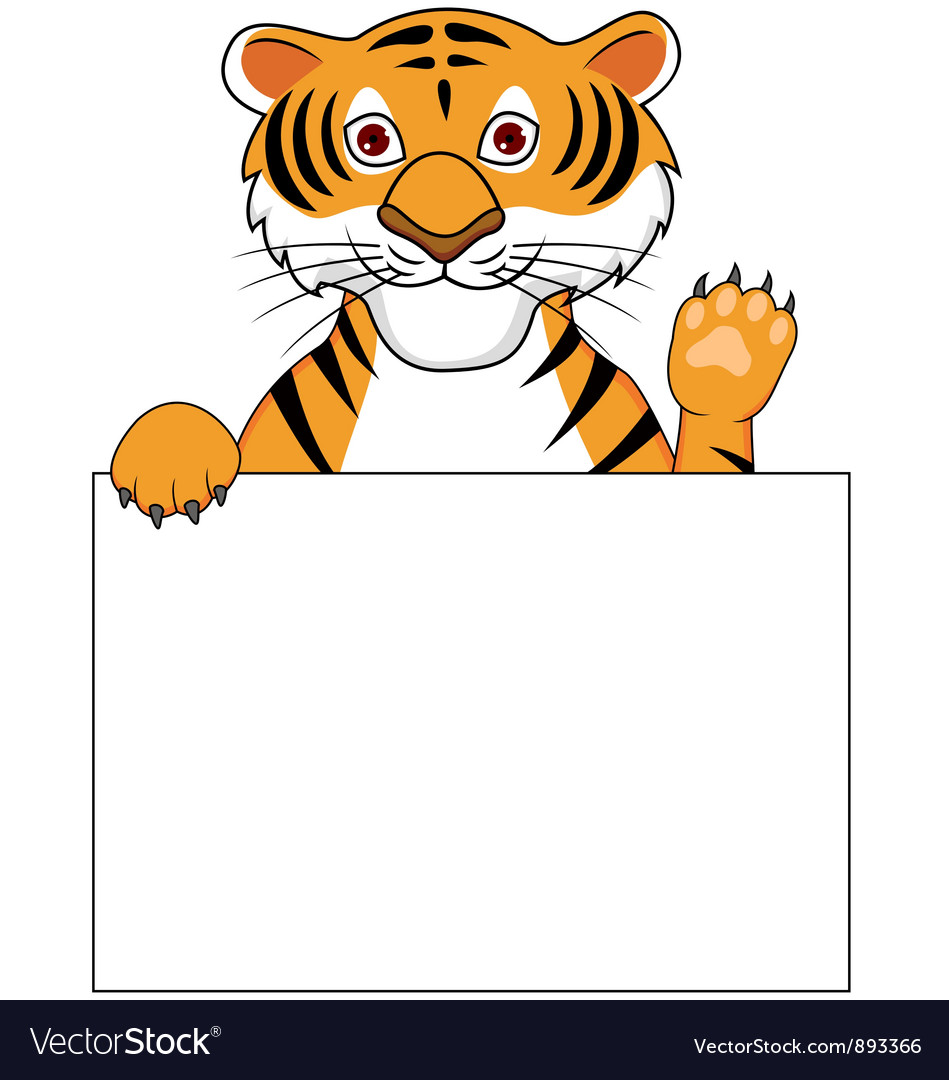 Cute tiger with blank sign vector   Price: 1 Credit (USD $1)