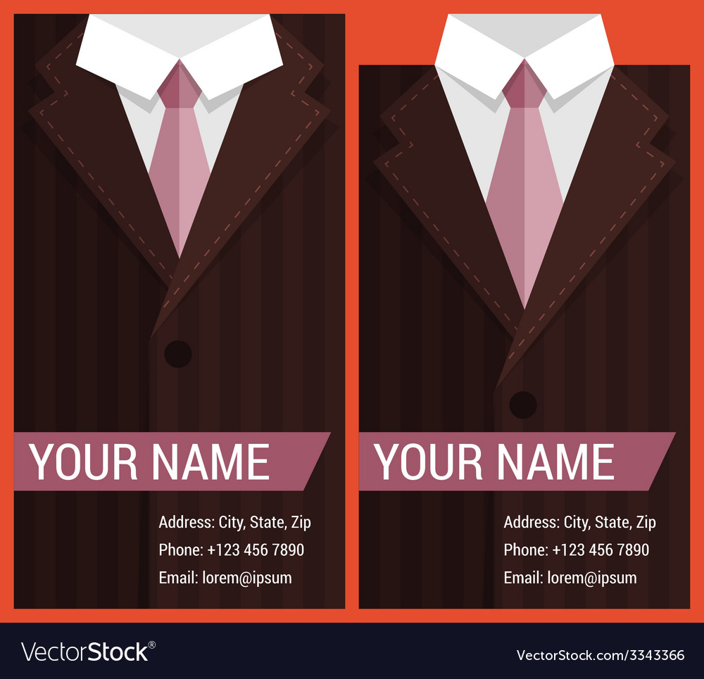Flat business card template with brown jacket vector | Price: 1 Credit (USD $1)