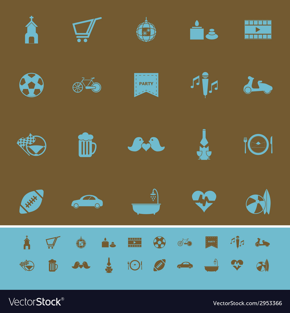 Friday and weekend color icons on brown background vector | Price: 1 Credit (USD $1)