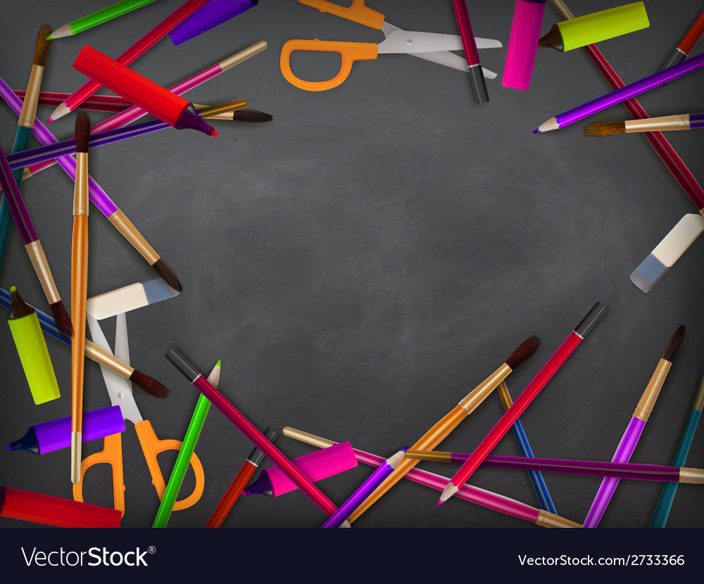 School supplies on blackboard plus eps10 vector | Price: 1 Credit (USD $1)