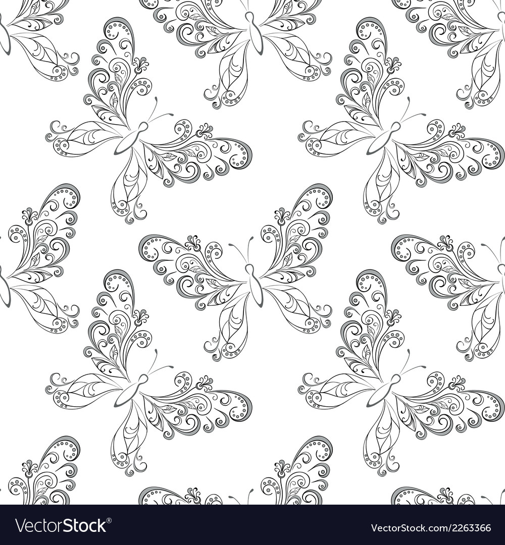 Seamless background butterflies contours vector | Price: 1 Credit (USD $1)