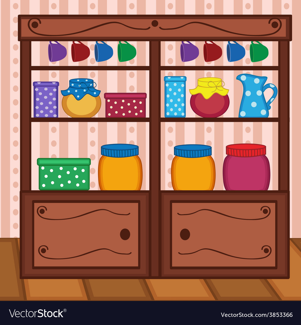 Shelves in kitchen with food and utensils vector | Price: 1 Credit (USD $1)