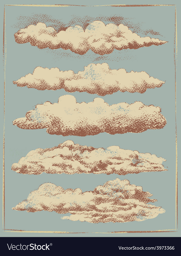 Vintage cloud background design set vector | Price: 1 Credit (USD $1)