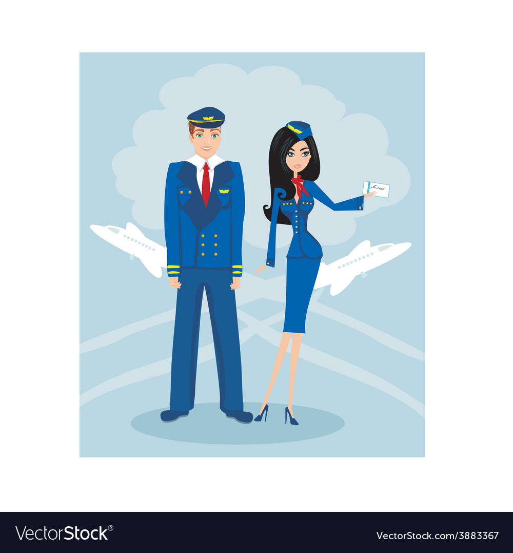 A pilot and stewardess in uniform vector | Price: 1 Credit (USD $1)