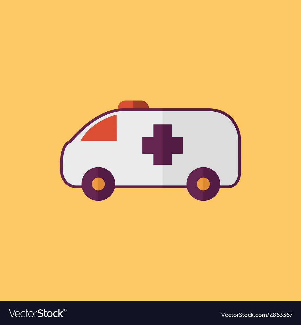 Ambulance transportation flat icon vector   Price: 1 Credit (USD $1)